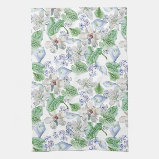 Watercolor Flower Pattern Kitchen Towel