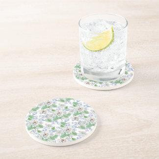 Watercolor Flower Pattern Sandstone Drink Coaster