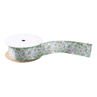 Watercolor Flower Pattern Satin Ribbon