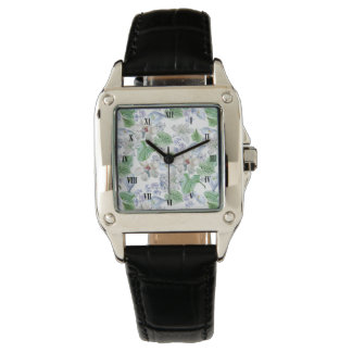Watercolor Flower Pattern Square Watch
