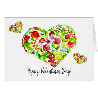 Watercolor Flower Tulip   Heart   Valentines Card