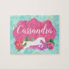 Watercolor Flower Unicorn Pink Blue Girls Name Jigsaw Puzzle