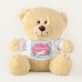 Watercolor Flower Unicorn Pink Blue Girls Name Teddy Bear