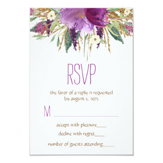 Watercolor Flower Wedding RSVP Card