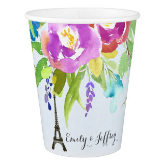 Watercolor Flower with Paris Eiffel Tower Paper Cup