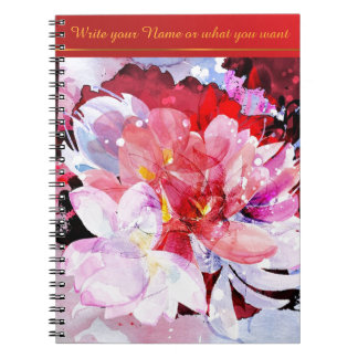 Watercolor flowers. Abstract illustration Spiral Notebook