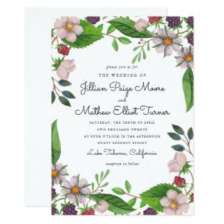 Watercolor Flowers and Berries Wedding Card