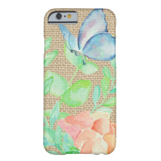 Watercolor Flowers and Butterflies Burlap Fantasy Barely There iPhone 6 Case