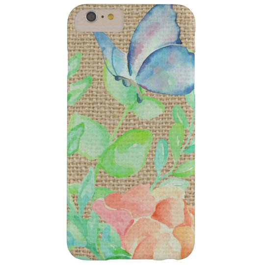 Watercolor Flowers and Butterflies Burlap Fantasy Barely There iPhone 6 Plus Case
