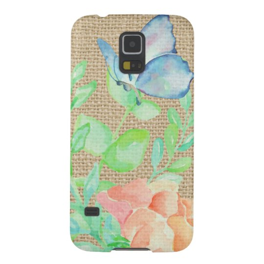 Watercolor Flowers and Butterflies Burlap Fantasy Case For Galaxy S5