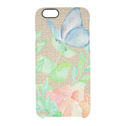 Watercolor Flowers and Butterflies Burlap Fantasy Clear iPhone 6/6S Case