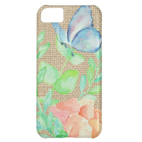 Watercolor Flowers and Butterflies Burlap Fantasy iPhone 5C Cases