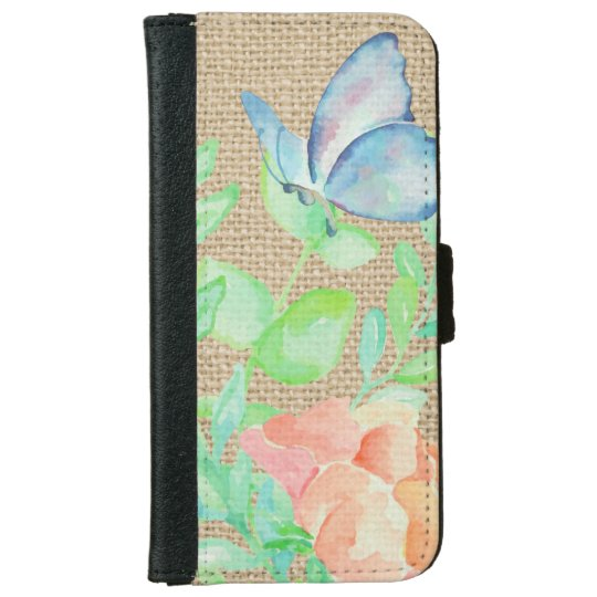 Watercolor Flowers and Butterflies Burlap Fantasy iPhone 6 Wallet Case