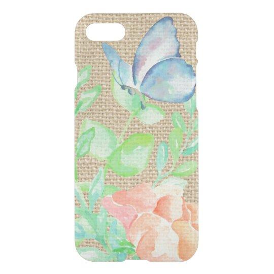 Watercolor Flowers and Butterflies Burlap Fantasy iPhone 8/7 Case