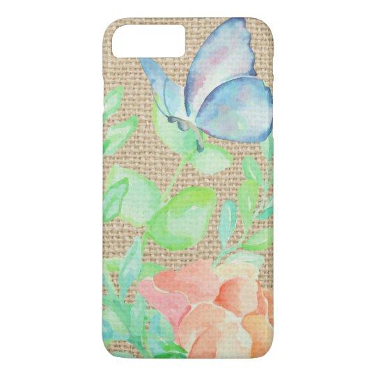 Watercolor Flowers and Butterflies Burlap Fantasy iPhone 8 Plus/7 Plus Case
