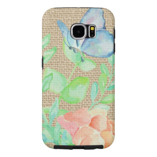 Watercolor Flowers and Butterflies Burlap Fantasy Samsung Galaxy S6 Cases