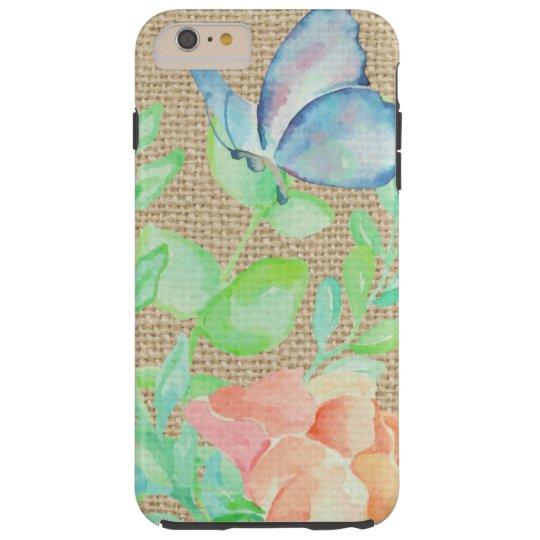 Watercolor Flowers and Butterflies Burlap Fantasy Tough iPhone 6 Plus Case