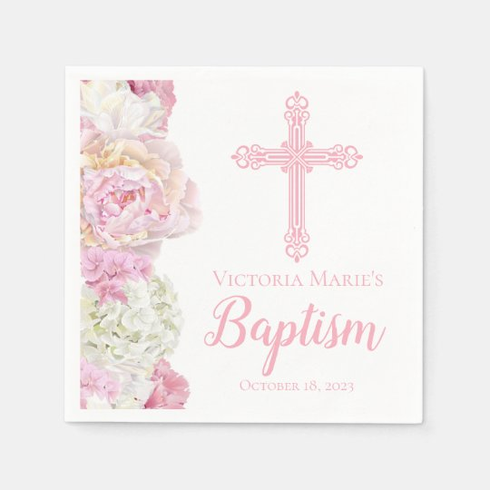 Watercolor Flowers and Cross Baptism Napkin