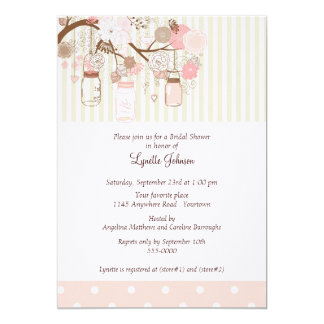 Watercolor Flowers and Jars Bridal Shower Card