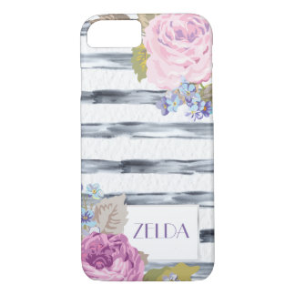 Watercolor Flowers and Stripes iPhone 7 Case