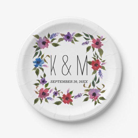Watercolor Flowers Beautiful Wedding Monogram 7 Inch Paper Plate