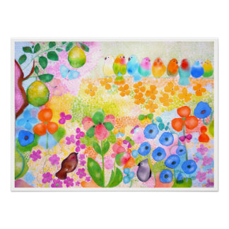 Watercolor flowers & birds by Gemma Orte Designs. Poster