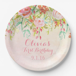 Watercolor Flowers Birthday Party Paper Plates