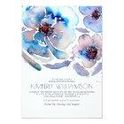 Watercolor Flowers Blue Boho Bridal Shower Card