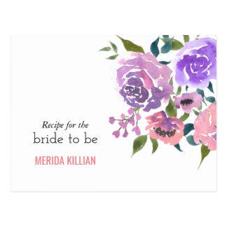 Watercolor Flowers Bunch Bridal Shower Recipe Postcard