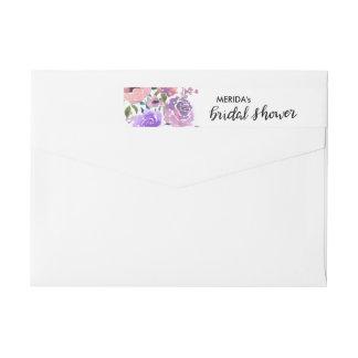 Watercolor Flowers Bunch Bridal Shower Script Wrap Around Label