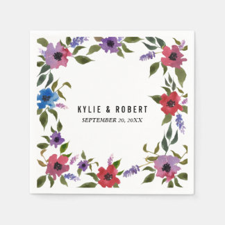 Watercolor Flowers Chic Wedding Paper Napkin