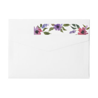 Watercolor Flowers Chic Wedding Wrap Around Label