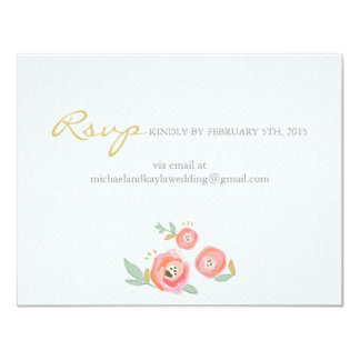"""Watercolor Flowers Custom RSVP and Accommodations 4.25"""" X 5.5"""" Invitation Card"""