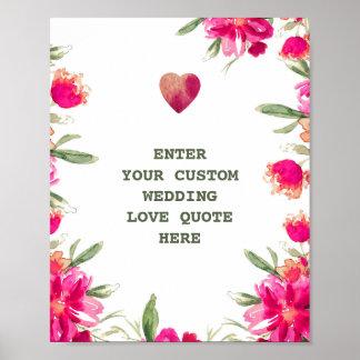 Watercolor Flowers Custom Wedding Love Quote Print