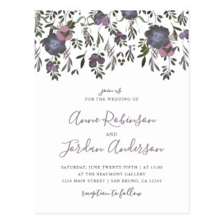 Watercolor Flowers & Damask Wedding Invitation Postcard