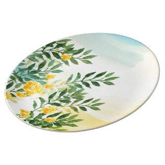 Watercolor Flowers Decorative Porcelain Plate