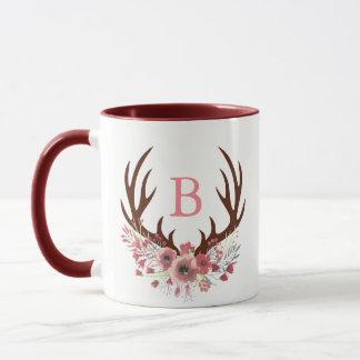 Watercolor Flowers Deer Antlers Initial Letter Mug