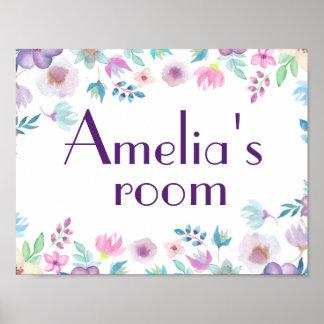 Watercolor flowers door sign, children' room sign