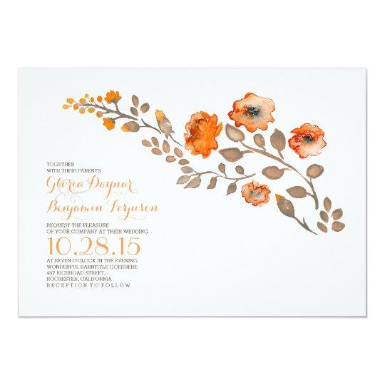 Watercolor flowers - fall wedding invitation