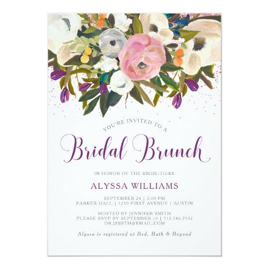 Watercolor Flowers | Faux Glitter Bridal Brunch Card