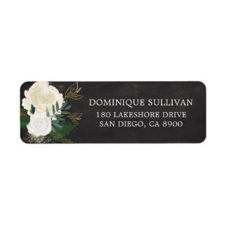 Watercolor Flowers & Faux Gold Glitter Chalkboard Return Address Label