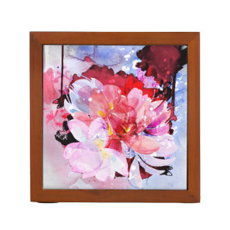 Watercolor flowers garden. Abstract illustration Desk Organizer