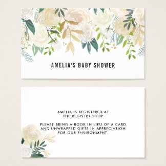 Watercolor Flowers Gold Foil Baby Shower Registry Business Card