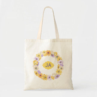 Watercolor Flowers Gold Purple Anemones Monogram Tote Bag