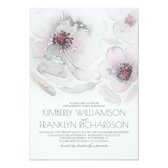 Watercolor Flowers Grey Pink Boho Engagement Party Card
