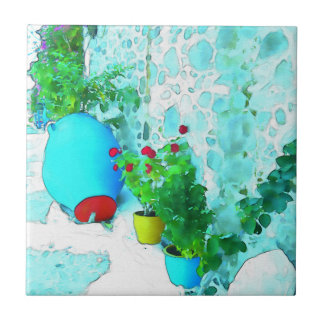 Watercolor flowers in colorful pots tile