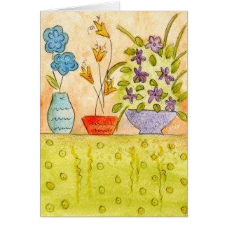 Watercolor Flowers in vases Card