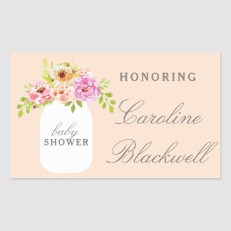 Watercolor Flowers & Mason Jar Baby Shower Sticker