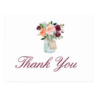 Watercolor Flowers Mason Jar Thank You Postcard