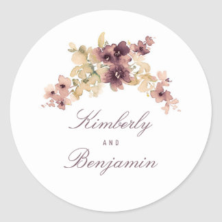 Watercolor Flowers Mauve and Gold Wedding Classic Round Sticker